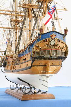 Ship model English East Indiaman PRINCE OF WALES of 1740, close views