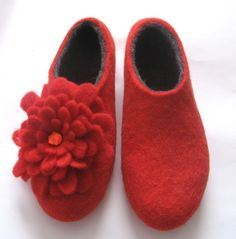 red felted shoes