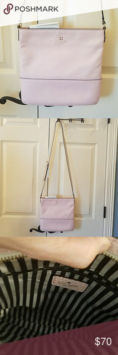 "Kate Spade Crossbody Purse EUC Super cute pale pink leather, crossbody purse with cream colored leather strap and tassel.  It measures 10 1/4"" tall by 10 1/2"" wide.  Has one larger zipper pocket and two smaller pockets on inside.  Zips on top.  I bought this to try and downsize but it just wasnt big enough for my stuff.   So I only carried a couole of times.  Like new, no flaws. kate spade Bags Crossbody Bags"