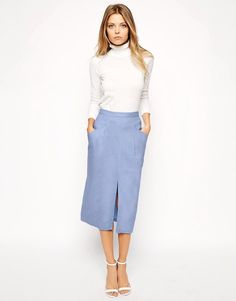 ASOS Linen Split Front Pencil Skirt saved by #ShoppingIS