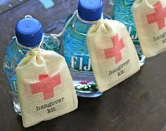 Wedding favor bags, Hangover Kit, first aid for wedding guests.  Funny wedding favor.