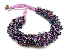 Crochet necklace with seed beads-purplish by JuJuAtelier on Etsy