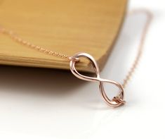Rose Gold Infinity necklace, simple rose gold jewelry, by ColorMeMissy, $19.00