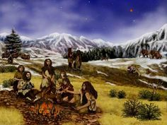 """""""Neanderthals weren't dumb about their diet, scientists say -- Extinct relatives' leavings suggest they consumed birds, fish and plants, not just game.  Bones left behind at Neanderthal sites suggest that families like the one shown in this artist's conception followed a balanced diet."""""""
