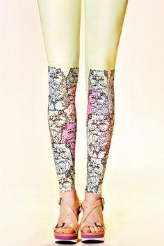 Multicat leggings by QooQoo -  Latvian fashion design brand, based on whimsical fabric prints, established by fashion designer Alyona.