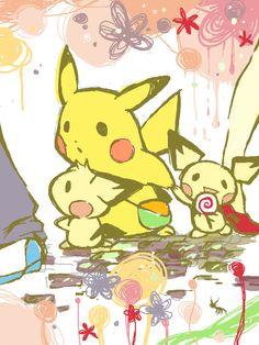 Pichu, Pikachu (by わび, TEGAKI blog)