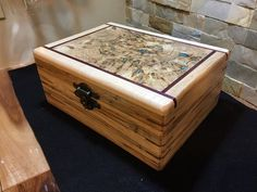 Burl wood topped box, Turquoise Inlay