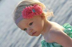 Baby Girl Headbands - Baby Girl - Hair Bow - Coral and Aqua - Vintage Baby Headband - Baby Headbands - Newborn on Etsy, $10.00