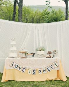 Sign for the candy buffet table