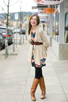 floral dress / belted cardigan / tights / boots