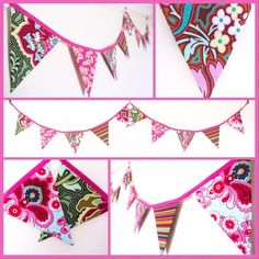Stunning bunting made from a variety of designer fabrics in gorgeous pink and green colours. 10 double sided flags each measuring approximately sewn into bias binding with loops at each end for easy hanging. Pink Bunting, Green Colors, Colours, Retro Fabric, Birthday Thank You, Christmas Gifts For Her, Pink And Green, Flags, Fabric Design