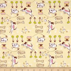 Cotton Lycra Jersey Knit Dogs at Play Pink Green from @fabricdotcom  This medium/heavyweight printed cotton lycra blend jersey knit fabric features 4-way 50% stretch, and is perfect for t-shirts, children's apparel, loungewear, and more! Colors include yellow, brown, white, and green.