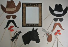 Items similar to Western photo booth props Cowboy Photo Booth Props Sams Mustache Saloon girl Little ponly Badge on Etsy Halloween Photo Booth Props, Photo Booth Party Props, Wedding Photo Booth, Halloween Photos, Clark Kent, Sheriff, Western Photo Booths, Lips Photo, Saloon Girls