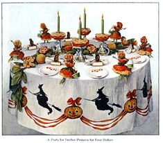 4 festive Halloween party table decorations and menu plans (1912) - #halloween #halloweendecorations #halloweendecor #halloweenparties #vintagehalloween #vintageparties #classichalloween #retrohalloween #clickamericana