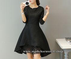 Elegantes Vokuhila Kleid Abendkleid Tulle in Schwarz