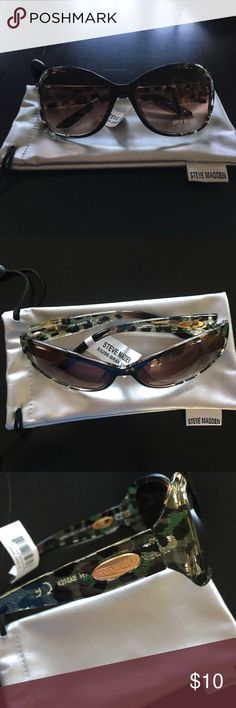 Steve Madden sunglasses Sunglasses (nwt) with protective pouch. No scratches or blemishes in lenses. Frames are clear with black and green 'spots'. Steve Madden Accessories Sunglasses