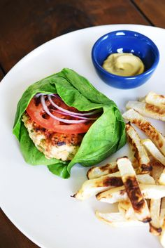 "Collard-Wrapped Turkey Burger with Turnip ""Fries"""