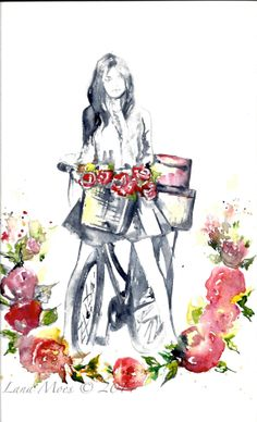 SOLD. Original Watercolor Illustration - Figurative Watercolor Painting Titled: Spring Time