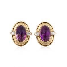 A David Webb pair of earrings featuring oval cabochon amethysts, and round diamonds, set in yellow gold. Amethyst: total carat weight Diamonds: total carat weight, G-H color, VVS-VS clarity Diamond Solitaire Earrings, Black Diamond Earrings, Amethyst Earrings, Diamond Jewelry, Stud Earrings, Button Earrings, Modern Jewelry, Vintage Jewelry, Handmade Jewelry