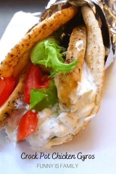 These Crockpot Chicken Gyros are a tasty and fun dinner idea the whole family will love! Chicken Gyro Recipe, Chicken Gyros, Chicken Recipes, Best Crockpot Recipes, Slow Cooker Recipes, Cooking Recipes, Greek Recipes, Main Dishes, Stuffed Peppers