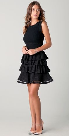 RED Valentino Sleeveless Lace Tiered Dress #shopbop