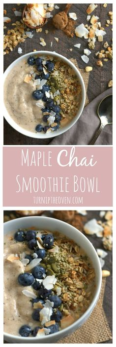 Check out this recipe for a maple chai smoothie bowl! Sweet, smoky maple syrup and spicy chai are a perfect match in this easy, gluten-free, vegan smoothie bowl. Get the recipe and don't forget to load on the toppings! Breakfast Bowls, Breakfast Recipes, Detox Breakfast, Clean Eating Snacks, Healthy Snacks, Fruit Snacks, Clean Eating Smoothie, Smoothies Vegan, Smoothie Bowls Vegan