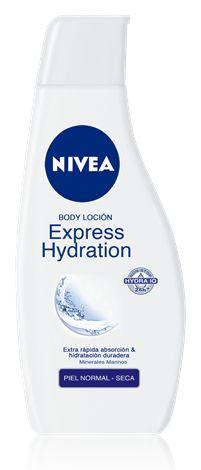 Loción Body Express Hydration. Absorción instantánea e hidratación duradera. Para piel normal a seca.