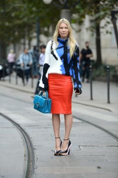 I would love to see a brunette in this look.    Bright colors and bold patterns are perfect for a grey day.