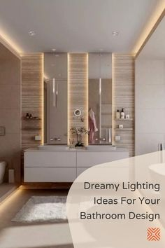 From chandeliers, decorative wall sconces and bath lights, recessed lighting, and even incandescent bulbs. These bathroom lighting ideas will make your bathroom design stand out. Minimal Bathroom, Modern Bathroom, Small Bathroom, Master Bathroom, Bathroom Lighting Design, Kitchen Lighting Fixtures, Light Fixtures, Cool Lighting, Lighting Ideas