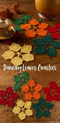 Dancing Leaves Coasters free crochet pattern in Aunt Lydia's Classic Crochet Thread.