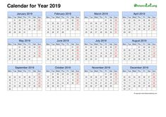 Blank Calendar 2019 Horizontal Grid Monday to Sunday Free Template