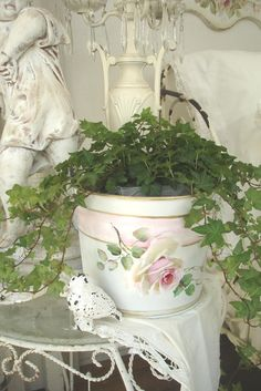 Cindy Ellis rose on a pink and white pail. (SOLD $179)