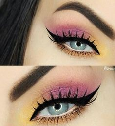 ★♥★Visually enlarge your small blue eyes by avoiding a black eyeliner on the bottom waterline. Use a white eye pencil on the waterline and light colored eyeshadow under the lower lash line instead and enjoy your eyes pop! Yellow and pink eye makeup Makeup Eye Looks, Pink Eye Makeup, Colorful Eye Makeup, Eye Makeup Tips, Cute Makeup, Pretty Makeup, Makeup Goals, Makeup Inspo, Eyeshadow Makeup