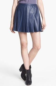 ASTR Pleated Faux Leather Skirt available at #Nordstrom