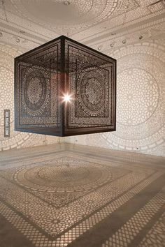 This enormous laser-cut wood cube projects beautiful shadow patterns onto surrounding gallery walls. Anila Quayyum Agha's installation 'Intersections' 3559 – Interior design Photo Gallery Instalation Art, Wooden Cubes, Art Sculpture, Lighting Sculpture, Metal Sculptures, Abstract Sculpture, Bronze Sculpture, 3d Prints, Laser Cut Wood