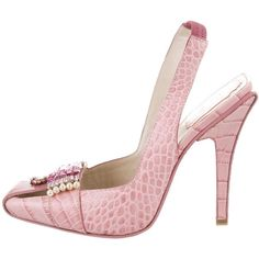 Pre-owned Christian Dior Embellished Alligator Pumps ($330) ❤ liked on Polyvore featuring shoes, pumps, pink, elastic shoes, alligator shoes, pink slingback pumps, pink shoes and pink slingback shoes