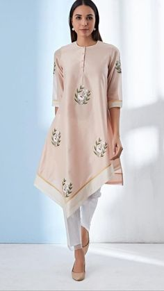 Beautiful tail cut Kurti with superb embroidery embellishments.