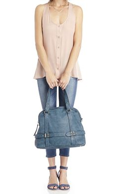 Weekend casual: Pair a silk button-down tank with Sole Society's wedge sandals and bowler bag.