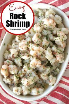 Easy Rock Shrimp Recipe with Lemon Butter Garlic Sauce tastes a little like lobster! Serve with pasta or as a fancy appetizer! #rockshrimp #shrimprecipes