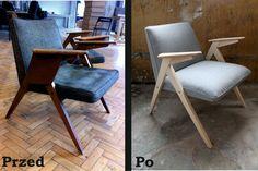 """dwie sztuki foteli wymagały """"dorobienia"""" nowych nóg, ponieważ stare się już do niczego nie nadawały. Założone zostało nowe wypełnienie, materiał obiciowy, a drewniane części wyczyszczono."""