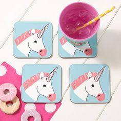 Miss Unicorn Coaster - Drinks Coaster - Animal Coaster by DizzyMissJames on Etsy https://www.etsy.com/uk/listing/253426355/miss-unicorn-coaster-drinks-coaster