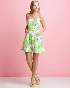 """Lilly Pulitzer """"Blossom"""" Yellow Printed Sundress"""
