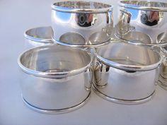 Elegant Set 8 Napkin Rings 950 Silver