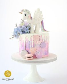 Rainbow unicorn cake . .…