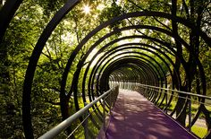 """Slinky Springs to Fame"" footbridge, Oberhausen, Germany. Places To Travel, Places To See, Bridge Design, Landscape Architecture Design, Pedestrian Bridge, Outdoor Art, Places Around The World, Location, Installation Art"