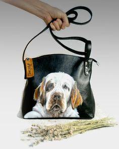 Personalized leather bag pet portrait painted bag hand-painted purse Pet Portrait  Custom Portrait Pet CityRomance cross body purse