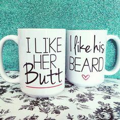 I like her Butt/I like his Beard Mug Set by UncleJesses on Etsy