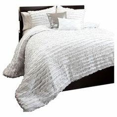 "5-Piece comforter set with ruffle details.   Product: 1 King comforter, 2 pillow shams and 2 accent pillowsConstruction Material: 100% PolyesterColor: WhiteFeatures:  Accents pillows include insertsRuffle designDimensions: 92"" x 104"" (comforter)Note: Shams do not include insertCleaning and Care: Dry clean"