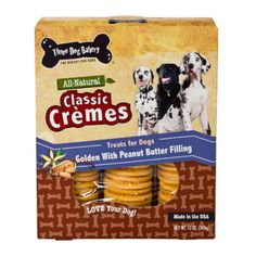 Premium all natural healthy dog Golden sandwich cookies made with peanut butter | Three Dog Bakery