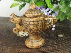 Stein Öllampe Nr:16/A - Rare carved Ghazni islamic Alabaster stone persan oil lamp in marble Afghanistan